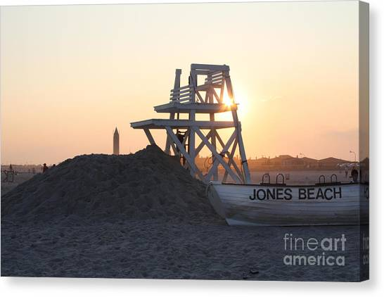 Lifeguard Canvas Print - Sunset At Jones Beach by John Telfer