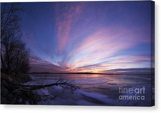 Sunset At Lovewell Lake Kansas Canvas Print