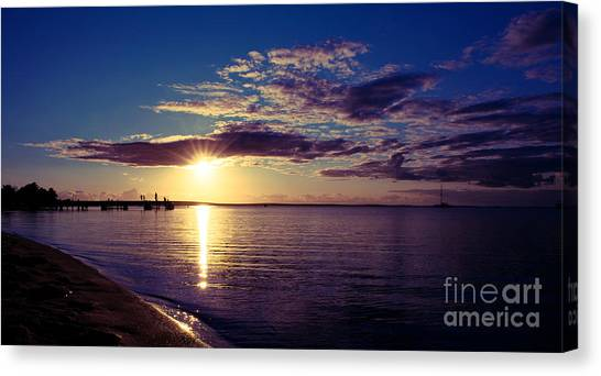 Canvas Print featuring the photograph Sunset At Monkey Mia by Yew Kwang