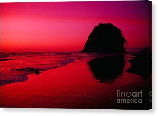 Sunset At Neskowin Beach- Proposal Rock Canvas Print