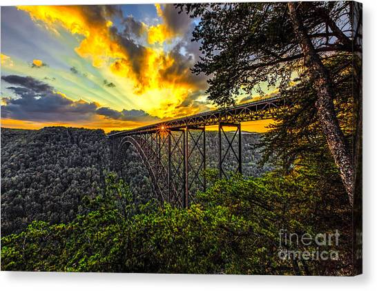 Sunset At New River Gorge Bridge Canvas Print by Mark East