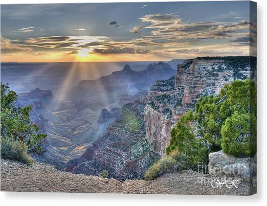 Sunset At Northern Rim Of The Grand Canyon Canvas Print