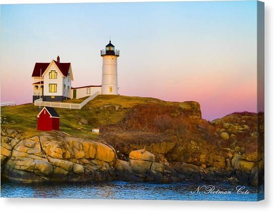 Sunset At Nubble Lighthouse Canvas Print