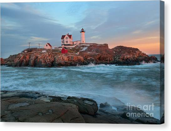 Sunset At Nubble Lighthouse Canvas Print