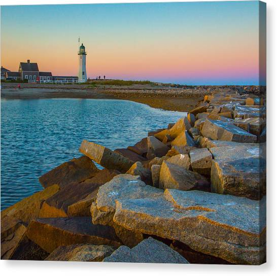 Sunset At Old Scituate Lighthouse Canvas Print