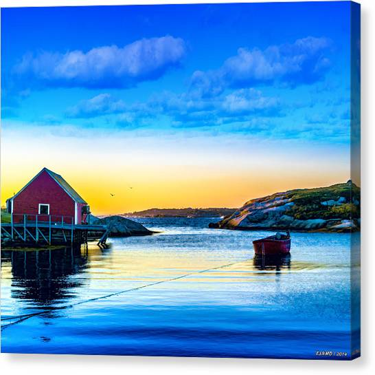 Sunset At Peggy's Cove  Canvas Print
