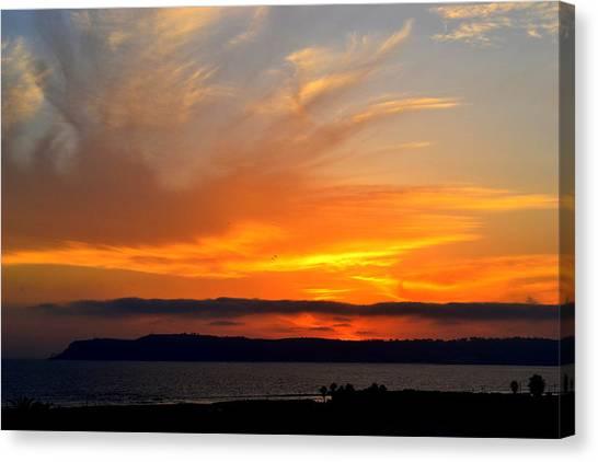 Sunset At Point Loma From Coronado California Canvas Print