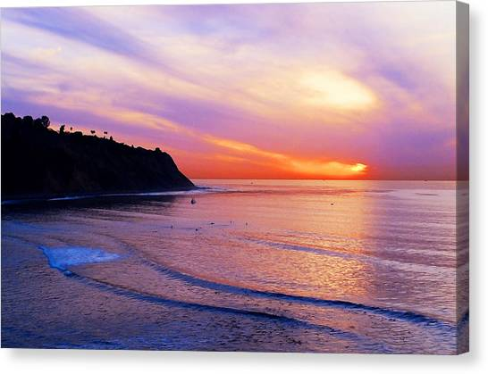 Surf Canvas Print - Sunset At Pv Cove by Ron Regalado