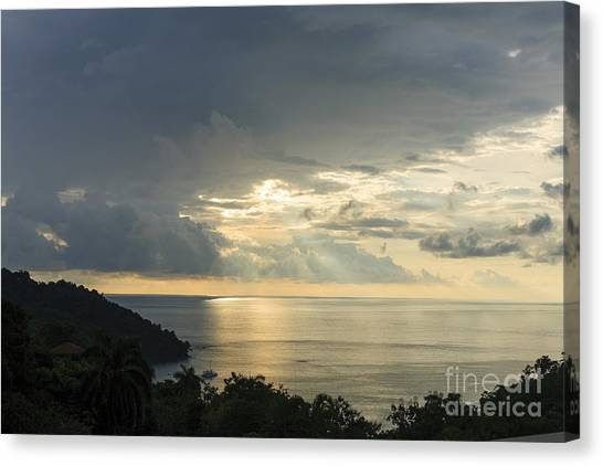 sunset at Quepos Canvas Print by Russell Christie