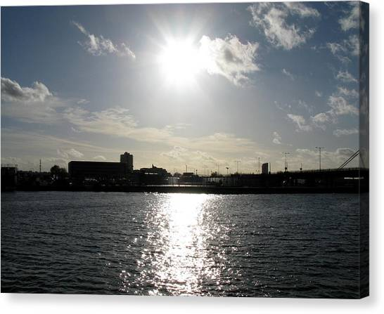 Canvas Print featuring the photograph Sunset At Royal Albert Dock by Helene U Taylor
