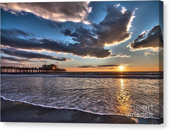 Sunset At Santa Monica. Canvas Print