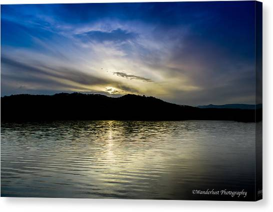 Sunset At South Tellico Lake Canvas Print by Paul Herrmann