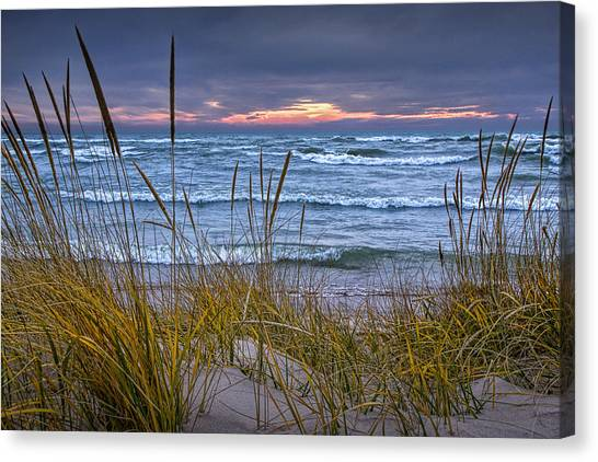 Sunset On The Beach At Lake Michigan With Dune Grass Canvas Print