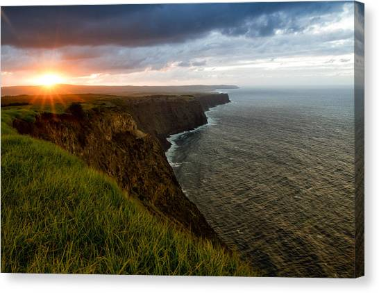 Kalaupapa Cliffs Canvas Print - Sunset At The Cliffs by Marzena Grabczynska Lorenc