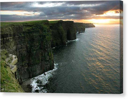 Sunset At The Cliffs Of Moher Ireland Canvas Print