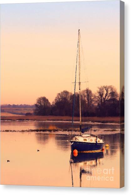 Sailing Canvas Print - Sunset At The Creek by Pixel Chimp