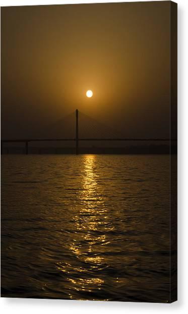 Sunset At The Ganga - Allahabad Canvas Print by Rohit Chawla