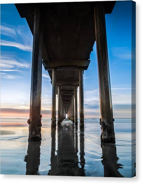 Coastal Landscape Canvas Print - Sunset At The Iconic Scripps Pier by Larry Marshall