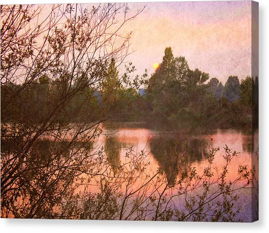 Sunset At The Lake Canvas Print by Angela Bruno