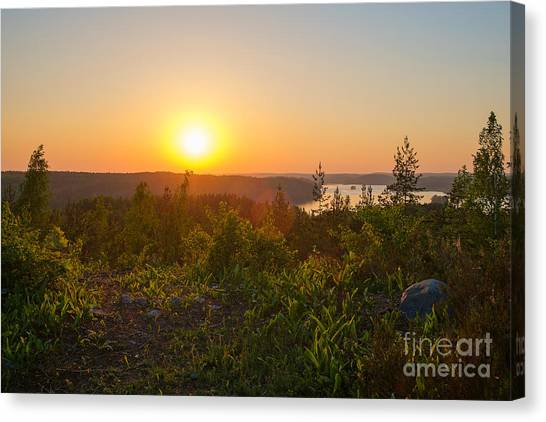 Sunset At The Lake Hiidenvesi Canvas Print