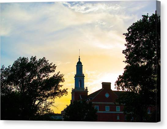 Oklahoma State University Canvas Print - Sunset At The Library by Nathan Hillis