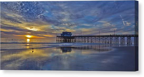 Rollerblading Canvas Print - Sunset At The Newport Pier by Harold Vaagan