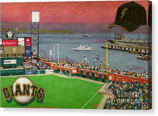 San Francisco Giants Canvas Print - Sunset At The Park by Cory Still