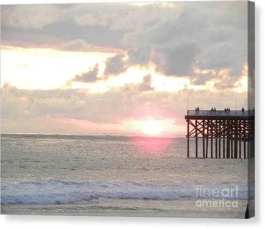 Canvas Print - Sunset At The Pier by John Wilson