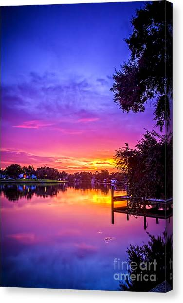 Bayous Canvas Print - Sunset At The Pier by Marvin Spates