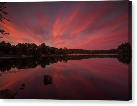Sunset At The Pond Canvas Print
