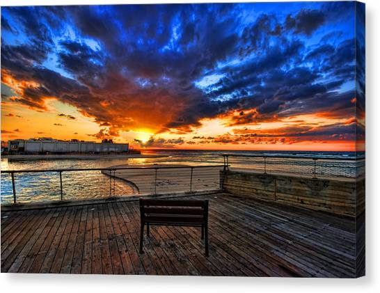 sunset at the port of Tel Aviv Canvas Print