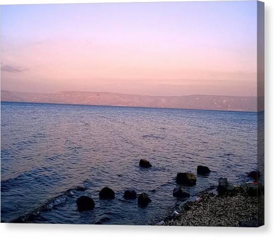 River Jordan Canvas Print - Sunset At The Sea Of Galilee by Sandra Pena de Ortiz
