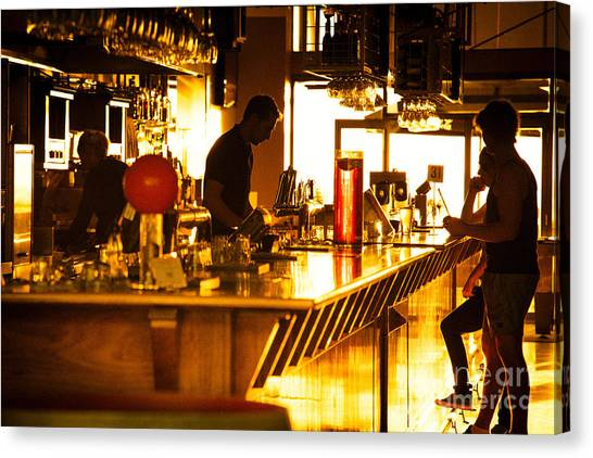 Canvas Print featuring the photograph Sunset Bar by Ray Warren