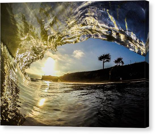 Bodyboard Canvas Print - Sunset Barrel by David Alexander