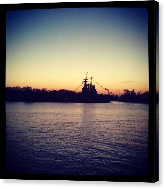 Battleship Canvas Print - Sunset Battleship Nc!! #wilmington by Beth Gorrell