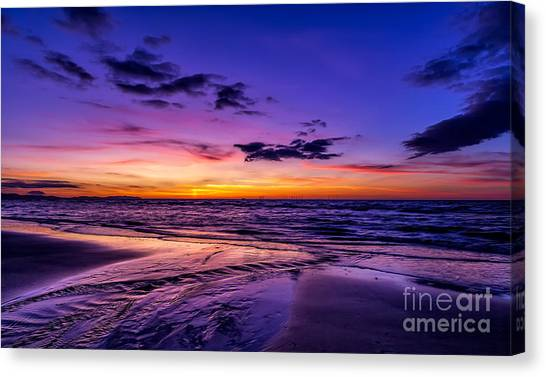 Wind Farms Canvas Print - Sunset Beach by Adrian Evans