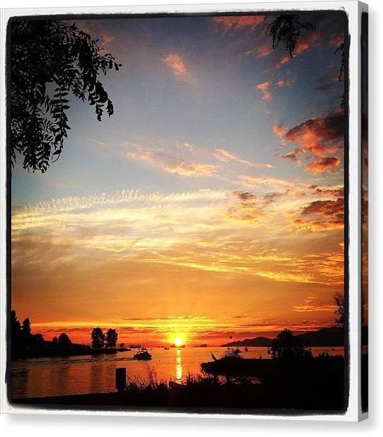 Sunset Horizon Canvas Print - Sunset Beach by Connie Pretula