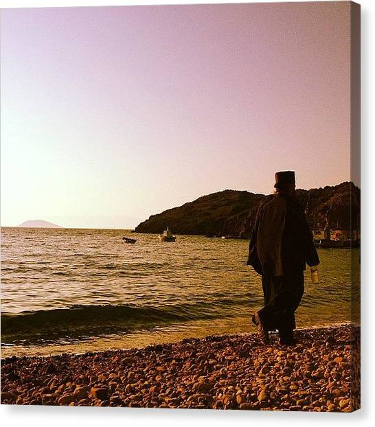 Priests Canvas Print - #sunset #beach #priest #patmos by Kyriakos Petrakos