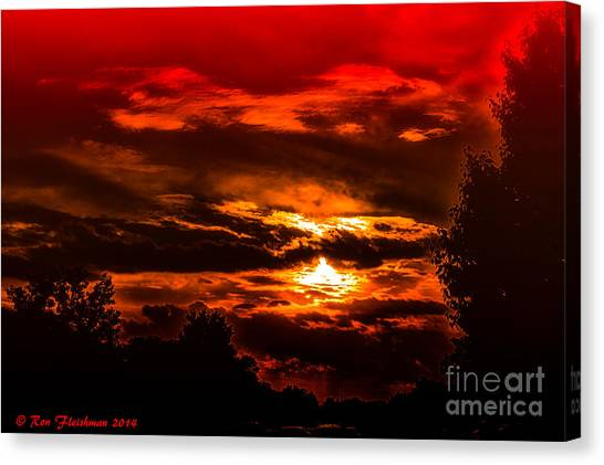 Sunset Before The Storm Canvas Print by Ron Fleishman
