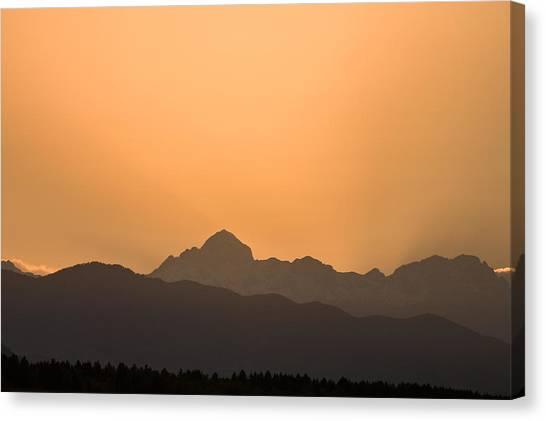 Sunset Behind The Julian Alps Canvas Print