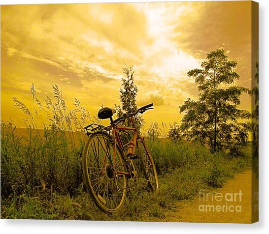 Sunset Biking Canvas Print