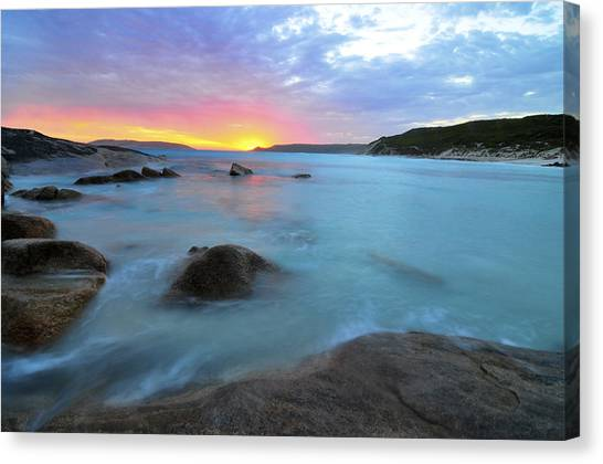Sunset Blue Canvas Print by Sally Nevin