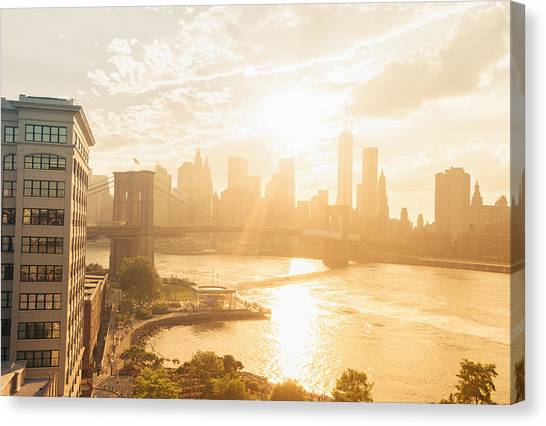 City Sunsets Canvas Print - Sunset - Brooklyn Bridge - New York City by Vivienne Gucwa