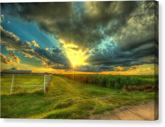 Corn Field Canvas Print - Sunset By The Farm by  Caleb McGinn