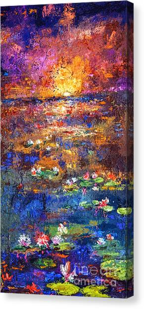 Sunset By The Lily Pond Canvas Print