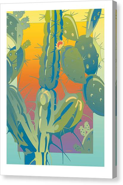 Sunset Cactus Canvas Print