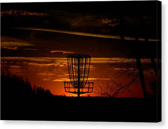 Disc Golf Canvas Print - Sunset Chains by Christopher Broste
