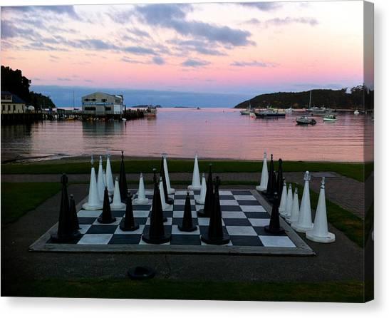 Sunset Chess At Half Moon Bay Canvas Print