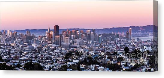 Canvas Print featuring the photograph Sunset Cityscape by Kate Brown