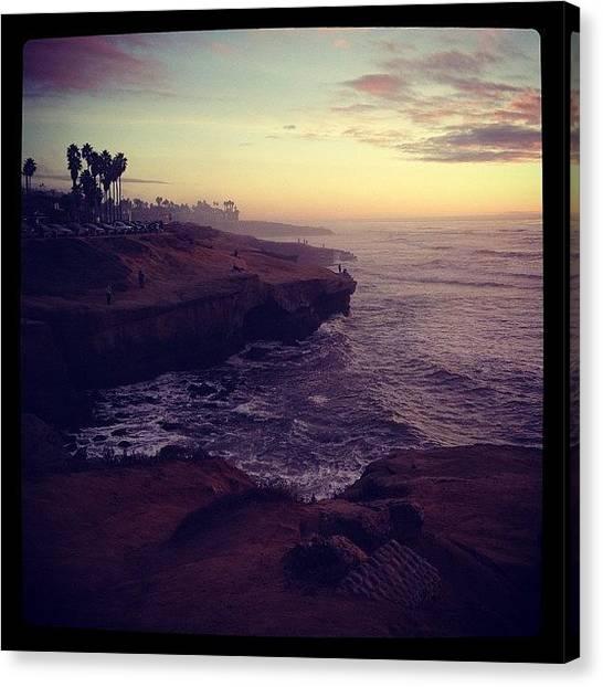 Beach Cliffs Canvas Print - Sunset Cliffs by Lori Mcpherson